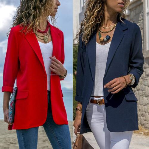 Fashion Womens Pure Slim Suit Jacket Coat Casual Long Sleeve Tops Blazer Outwear