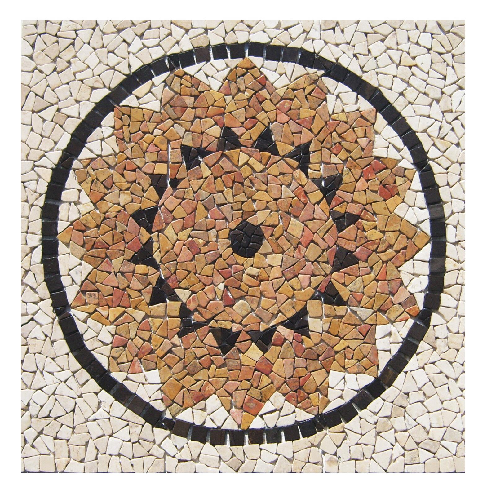 1 Marmor Mosaik Bild RO-003 - 90x90 cm Rosone - Mosaikfliesen Lager Herne NRW