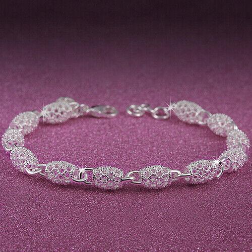 Femmes 925 Sterling Silver Hollow Fashion Bracelet Gourmette Fermoir Bracelet Cadeau FAS