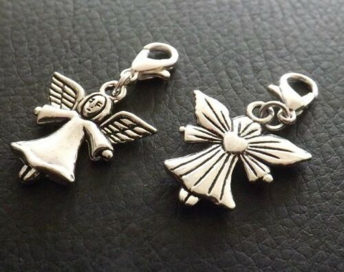10 Silver Tone Angel Clip on Charms for Bracelets Jewellery Making Wholesale