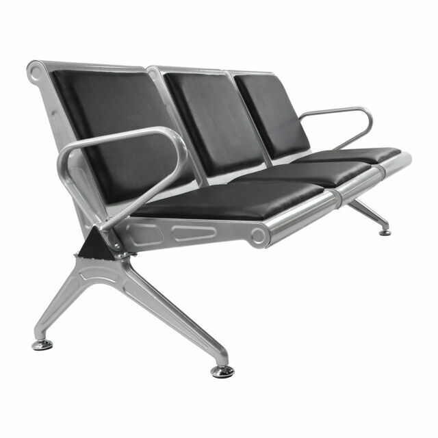Heavy Duty 3 Seat Waiting Room Chair Bench Office Bank Airport Reception Sliver