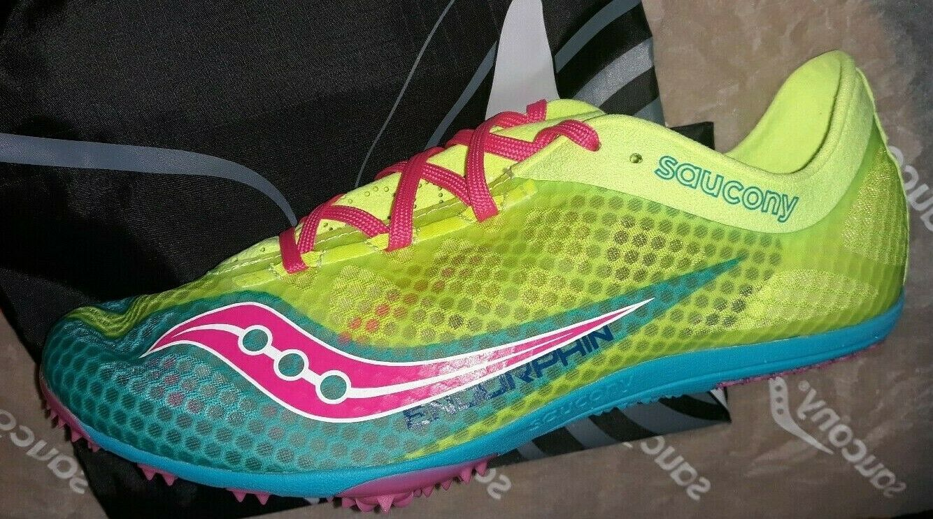 Nouveau Femme Saucony Racing endorphine jaune Spiked Racing chaussures Taille 10.5 42.5