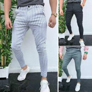 Pantalones Largos De Moda A Rayas Para Hombres Elegante Casual Joggers Ajustados Ebay