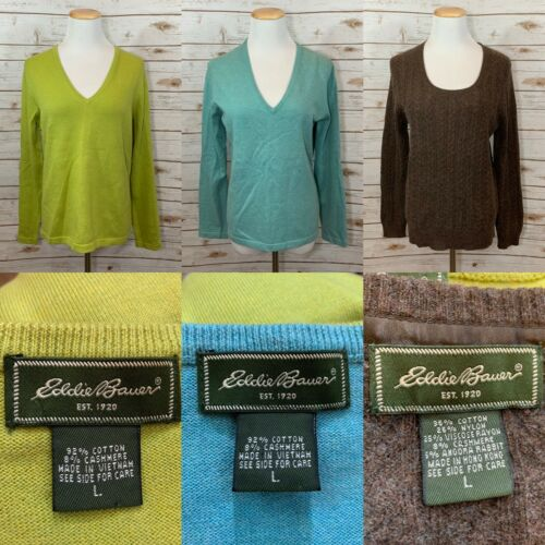 Lot Of 3 Women's Eddie Bauer Sweaters Cotton Cashm