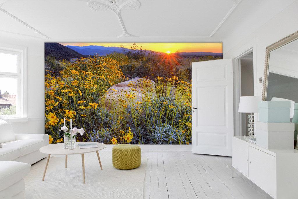 3D Golden Flower Sun 7 Wall Paper Murals Wall Print Wall Wallpaper Mural AU Kyra
