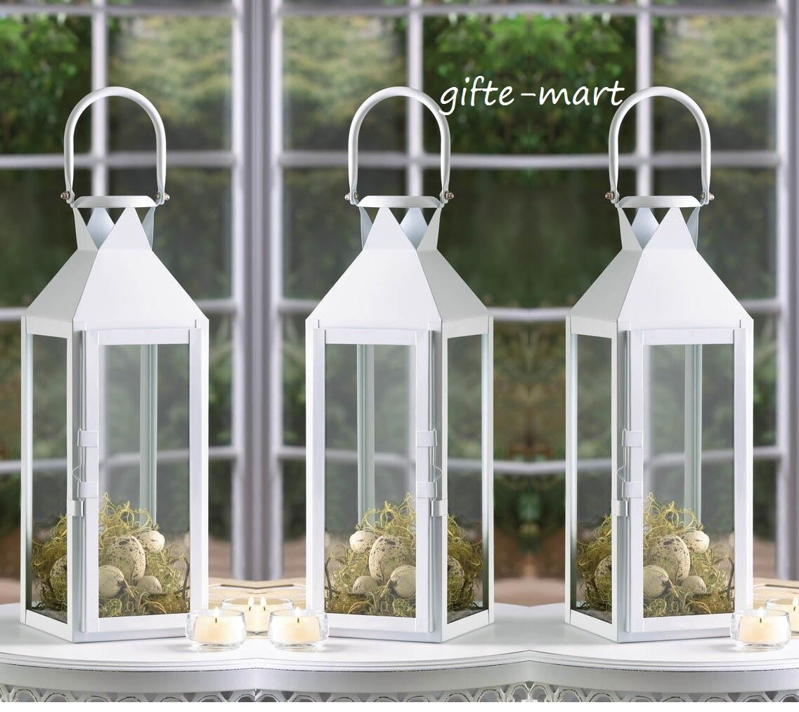 6 large WHITE 15  tall Candle holder Lantern malta lamp wedding table decoration