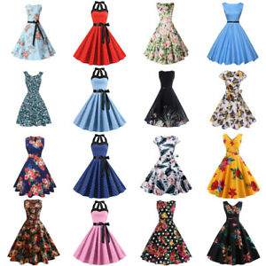 Women-039-s-wintage-50s-60s-retro-rockabilly-pinup-housewife-party-swing-dresses