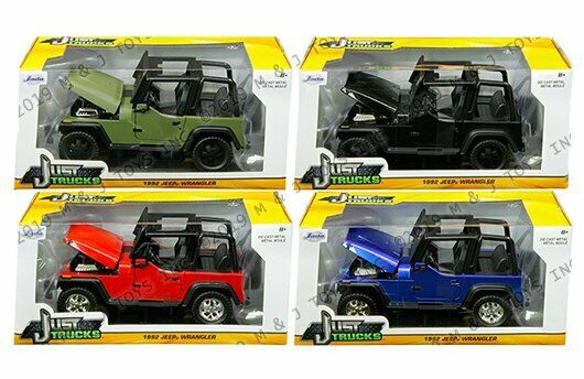 Jada 1 24 Just Trucks 1992 Jeep Wrangler rosso blu nero Flat verde Set of 4 autos