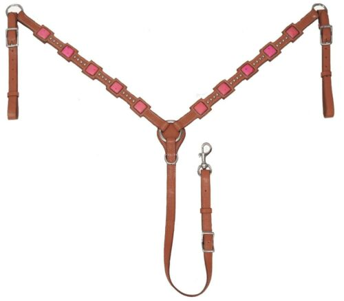 Tahoe Tack Saquaro Ostrich Print Square Horse Leather Western Breast Collar