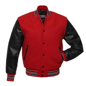 online store 6b1e9 bca8a ... Image is loading Stewart-amp-Strauss-Scarlet-Red-Wool-amp  Black Black  Raglan Sleeve Zip Front Lux Wool Varsity Jacket - Golden ...