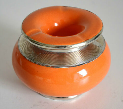 cendrier Marocain blanc anti-fumée décoration Maroccan ashtray ceramic orange