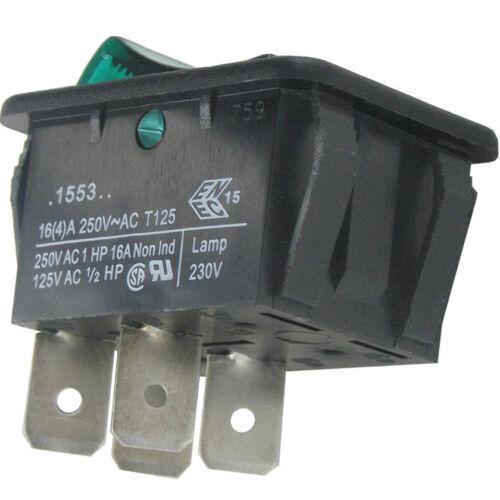 WIPPSCHALTER Arcoelectric 1553 36//16//4A @ 250VAC HQ grün beleuchtet
