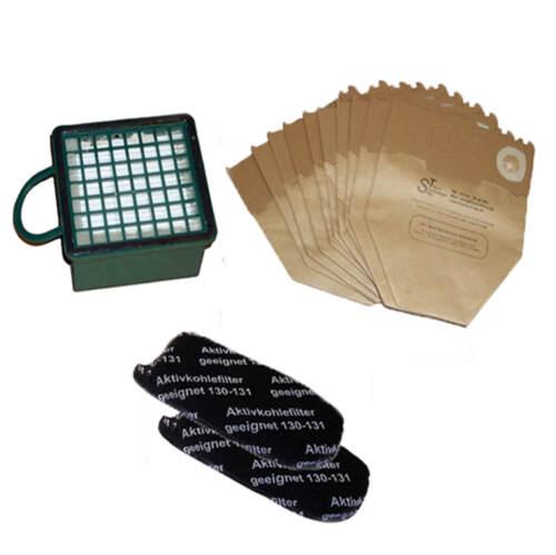 FILTRI con 10 BUSTINE 1x micro filtro e 2x filtri a carbone VORWERK FOLLETTO 130 131