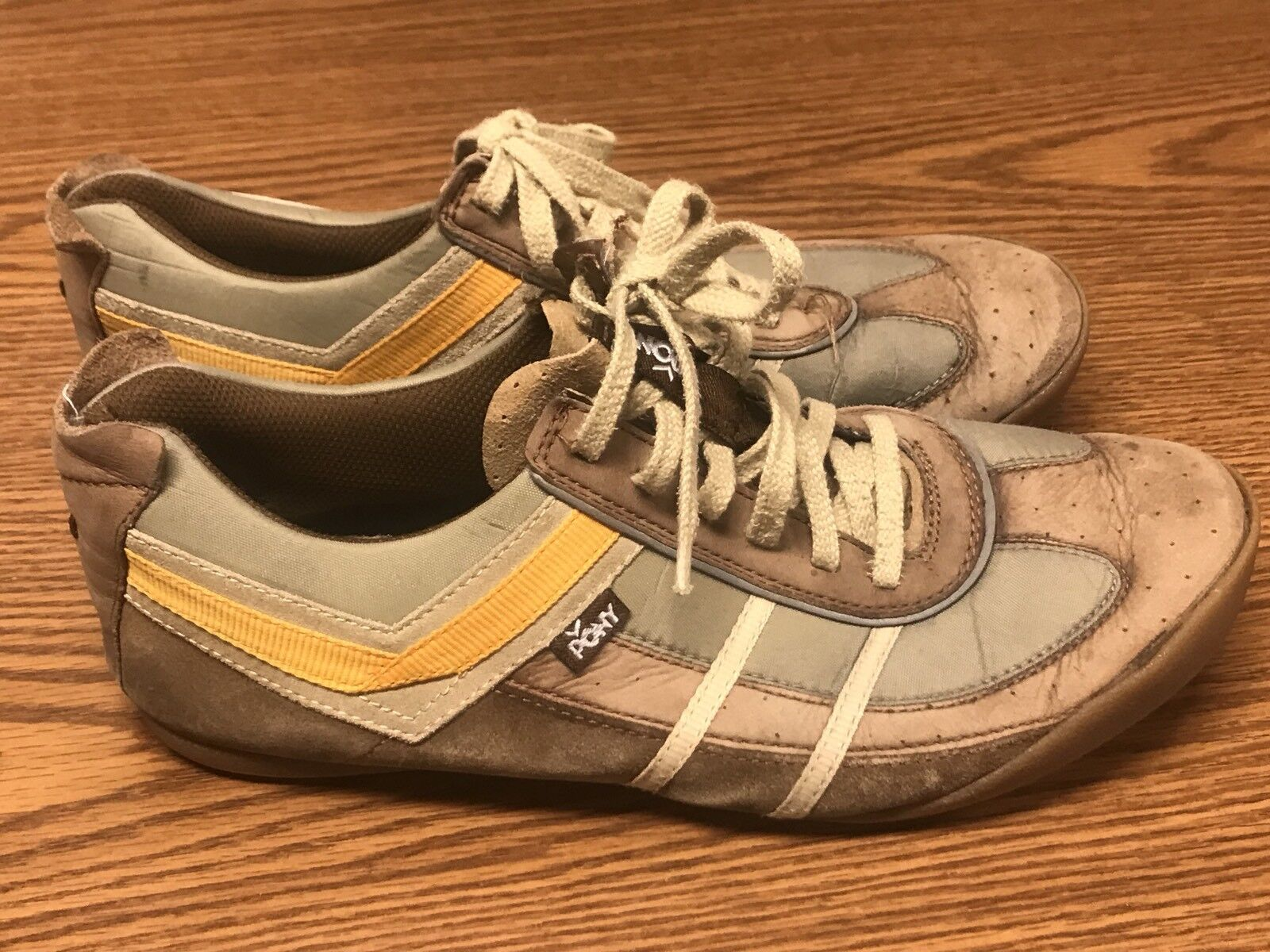 Vintage Pony Deflectors Dash Brown Yellow Women's Athletic Sneaker shoes Sz 11