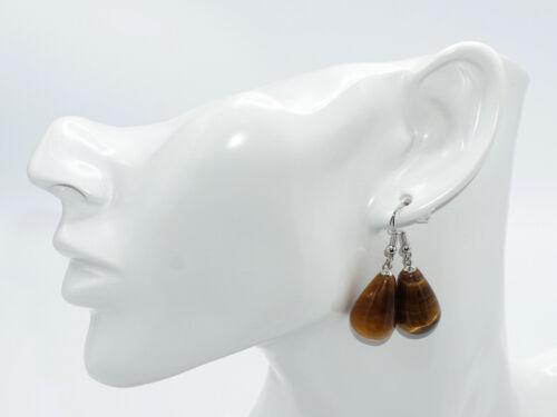 Elegante Ohrringe mit Tigerauge-Tropfen