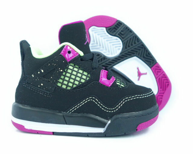 Nike Air Jordan IV 4 Retro GT Black//Fuchsia-Lime 705345-027 Toddler SZ 6C