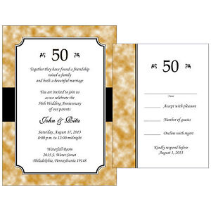 25 Personalized 50th Golden Anniversary Invitations w/ Response ...