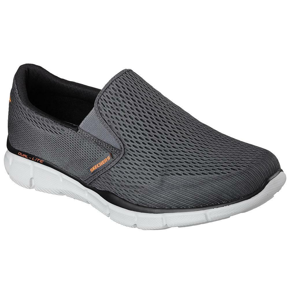 New Mens Skechers Equalizer Double Play Sneakers Grey Gel-infused insole Treaded