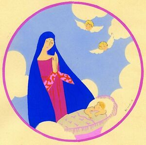 1930s-French-Pochoir-Print-Edouard-Halouze-Religious-Virgin-Mary-Jesus-Praying