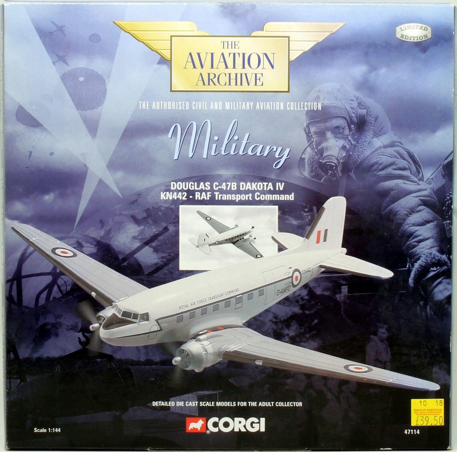CORGI SCALE 1 144 47114 DOUGLAS C-47B DAKOTA IV KN442 RAF TRANSPORT COMM. (U21)