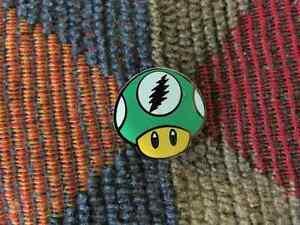 17b9e1ea85a8 Dead Head Video Gamer Green Magic Mushroom Shrooms Psilocybin Enamel ...