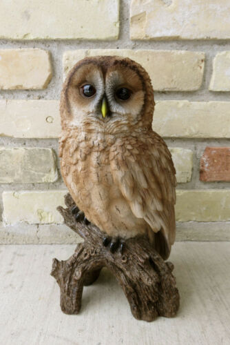 "12.5 "" BROWN OWL FIGURINE ON TREE STUMP HOOTER STATUE WISE OLD OWL NEW"