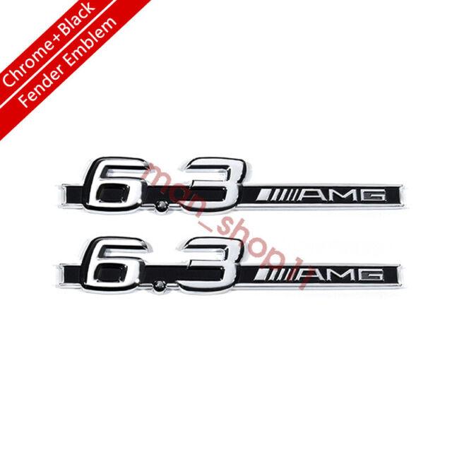 CMAOS 2PCS Fit for 6.3 AMG Emblem Red Black Fender Logo Badge Nameplate OEM C63 E63 S63
