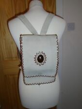 Vintage 80's  Cream Leather Back Pack with Faux Amber Oval to Front