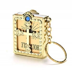 Details about 12 Pcs -Gold- Key Chain Spanish Holy Bible Religious Gift  Baptism Favors Key