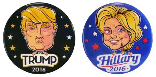 Hillary Clinton Donald Trump for President 2016 Caricature Campaign Button Set