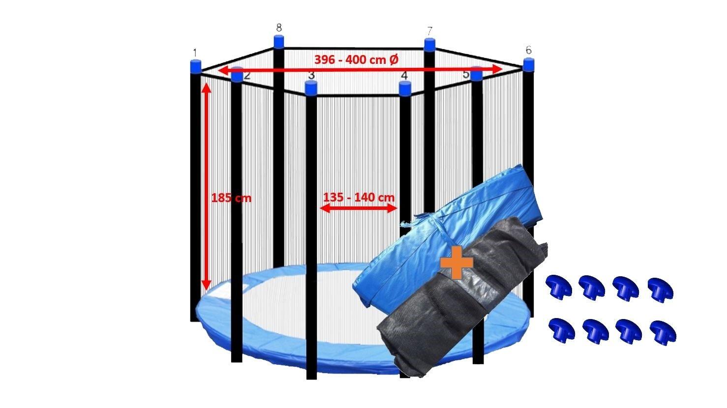Trampolino Copertura Bordo Blu  RETE DI SICUREZZA 396400 cm Ø per 8 aste sistema