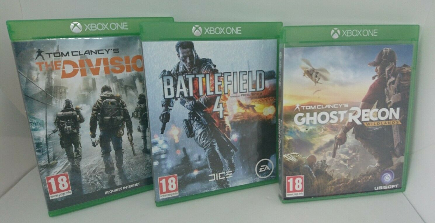 Xbox One Game Bundle. Ghost Recon Wildlands Battlefield 4 The Division FreeUKP&P