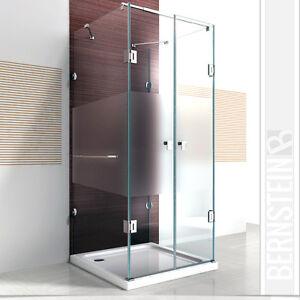 dusche duschkabine u form duschabtrennung nano esg glas milchglas streifen ebay. Black Bedroom Furniture Sets. Home Design Ideas