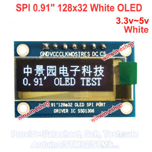 SPI-0-91-034-128x32-White-OLED-LCD-Display-Module-AVR-PIC-for-Arduino-R3-DC-3-3-5V