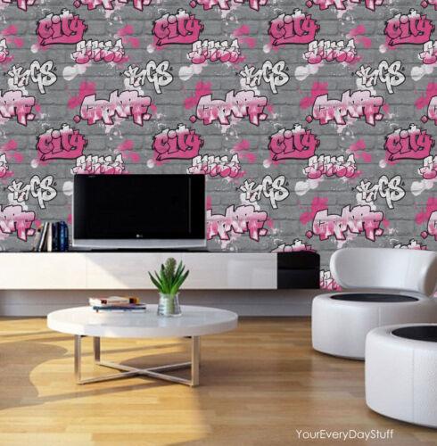 Graffiti Wallpaper Paint Splash Brick Effect Textured Silver Grey Pink Black