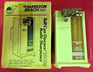 Can-Opener-Knife-Sharpener-Electric-Power-HAMILTON-BEACH-Cooking-Tool-ALMOND-NEW