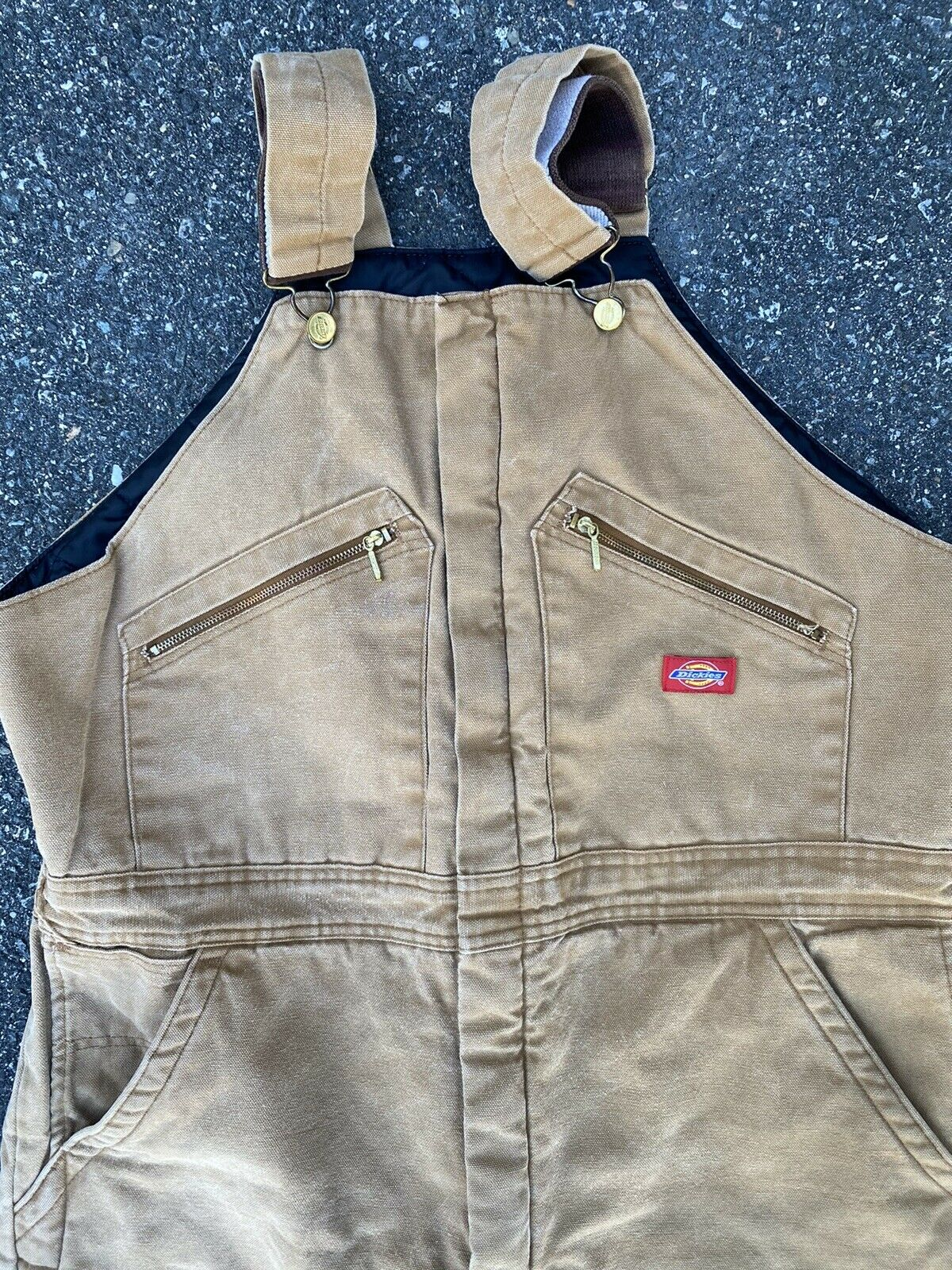 DICKIES INSULATED BIB OVERALLS DUCK BROWN SIZE 42… - image 3
