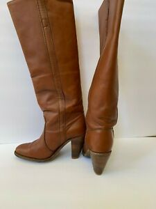 """Frye Jackie Boot Women Size 6.5 Brown Leather Tall 2.5"""" Heel Mid Calf Round Toe"""