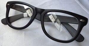AVIATOR Retro Vintage Style CLEAR LENS Hipster Club RAVE BLACK FRAME GLASSES NEW