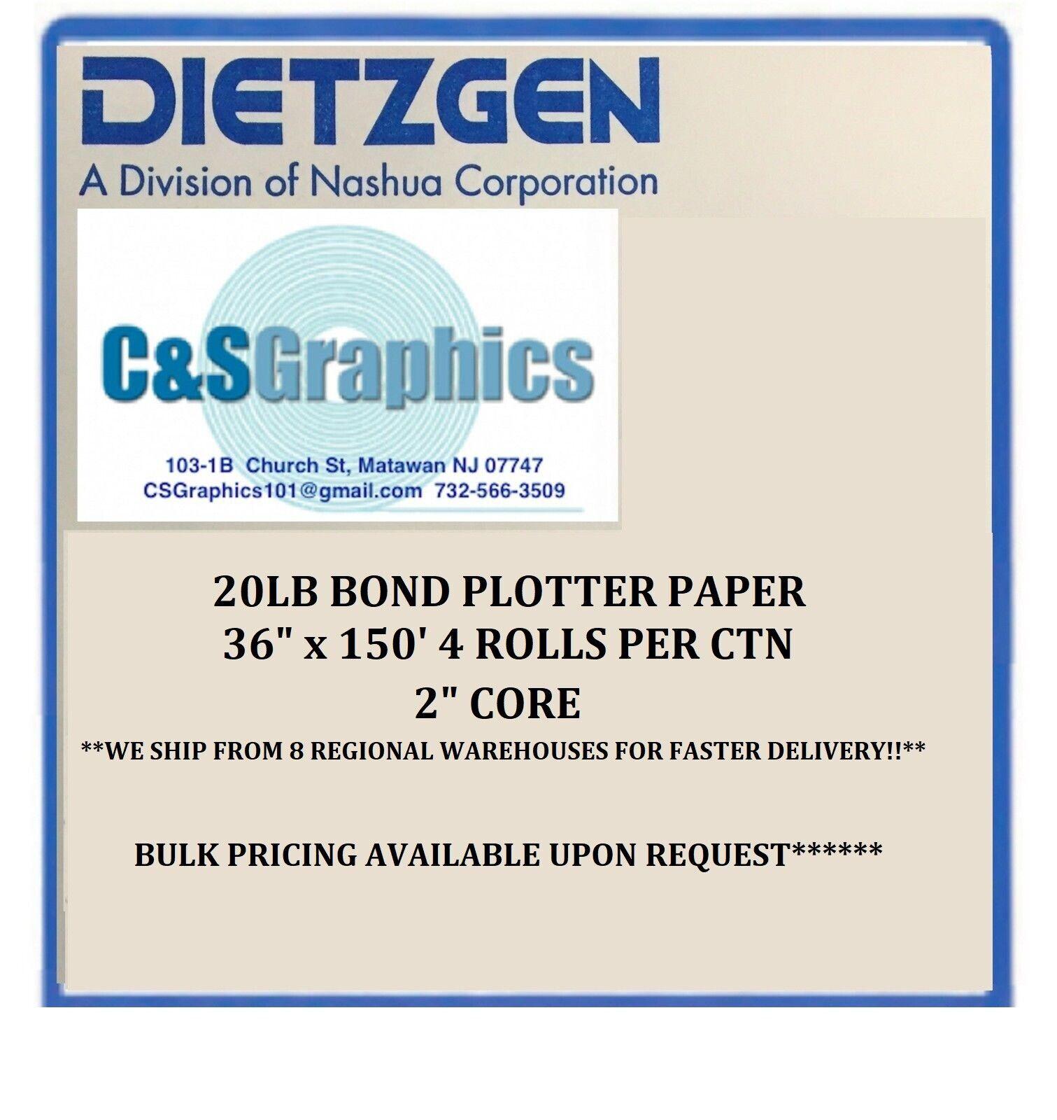 4 Rolls  24/'/' X 150/'  20LB Bond HP DesignJet Plotter Paper