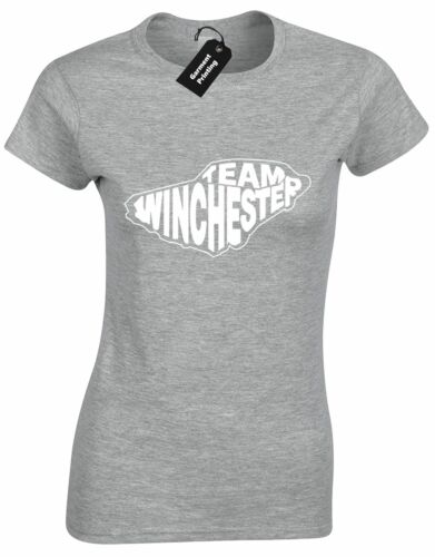 TEAM WINCHESTER LADIES T SHIRT SAM DEAN IMPALA CROWLEY HELL DEMON DRIVER PRESENT