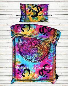 Indian-OM-AUM-Mandala-Single-Duvet-Quilt-Cover-Bedding-Tie-Dye-Boho-Blanket-Set