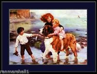 English Picture Print Saint St. Bernard Family Dog Dogs Puppy Vintage Poster Art