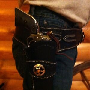Details about Western Leather Gun Holster & Belt Cowboy single action  CUSTOM BUILT TO YOU sass