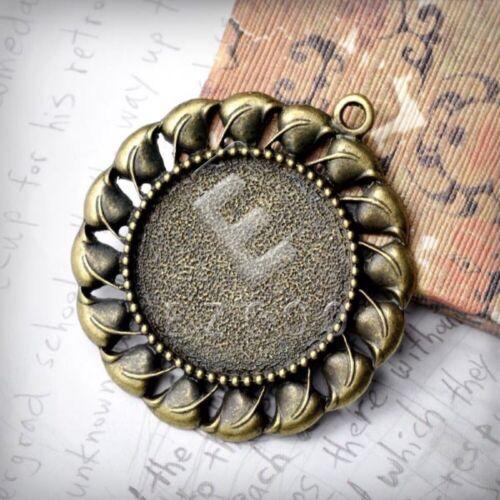 3pcs Antique Brass Metal Charm Pendant Craft Supplies Jewelry Round 53x48x3mm YB