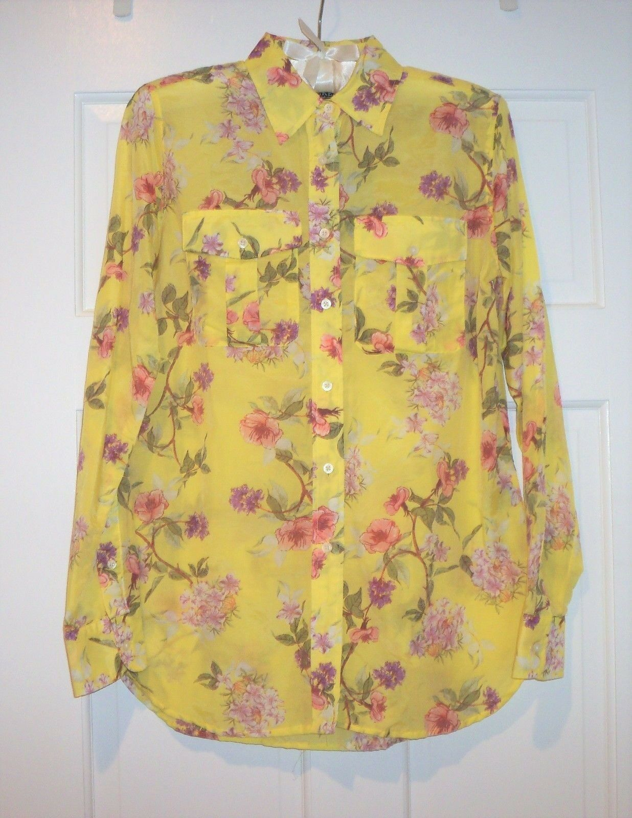 NWT LRL Ralph Lauren Gelb Floral Cotton Blend Blouse Shirt New Small S