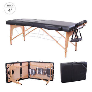 4-034-Pad-91-034-Black-Portable-Massage-Table-w-Free-Carry-Case-Chair-Bed-Spa-Facial