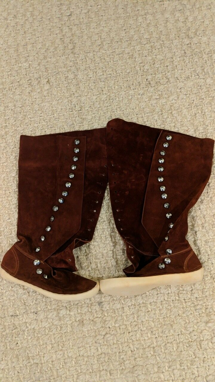 Vintage Vintage Vintage 1970's Kiabab Moccasin Button Up Tall Boots Brandy New W  Tag Rust Suade 4e1278