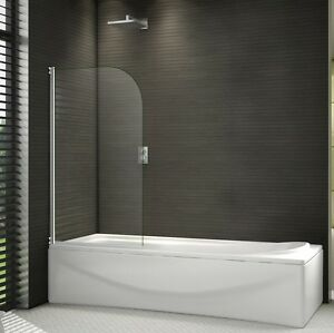 Shower Screen Over Bath 800x1400mm chrome 180? pivot radius 6mm glass over bath shower