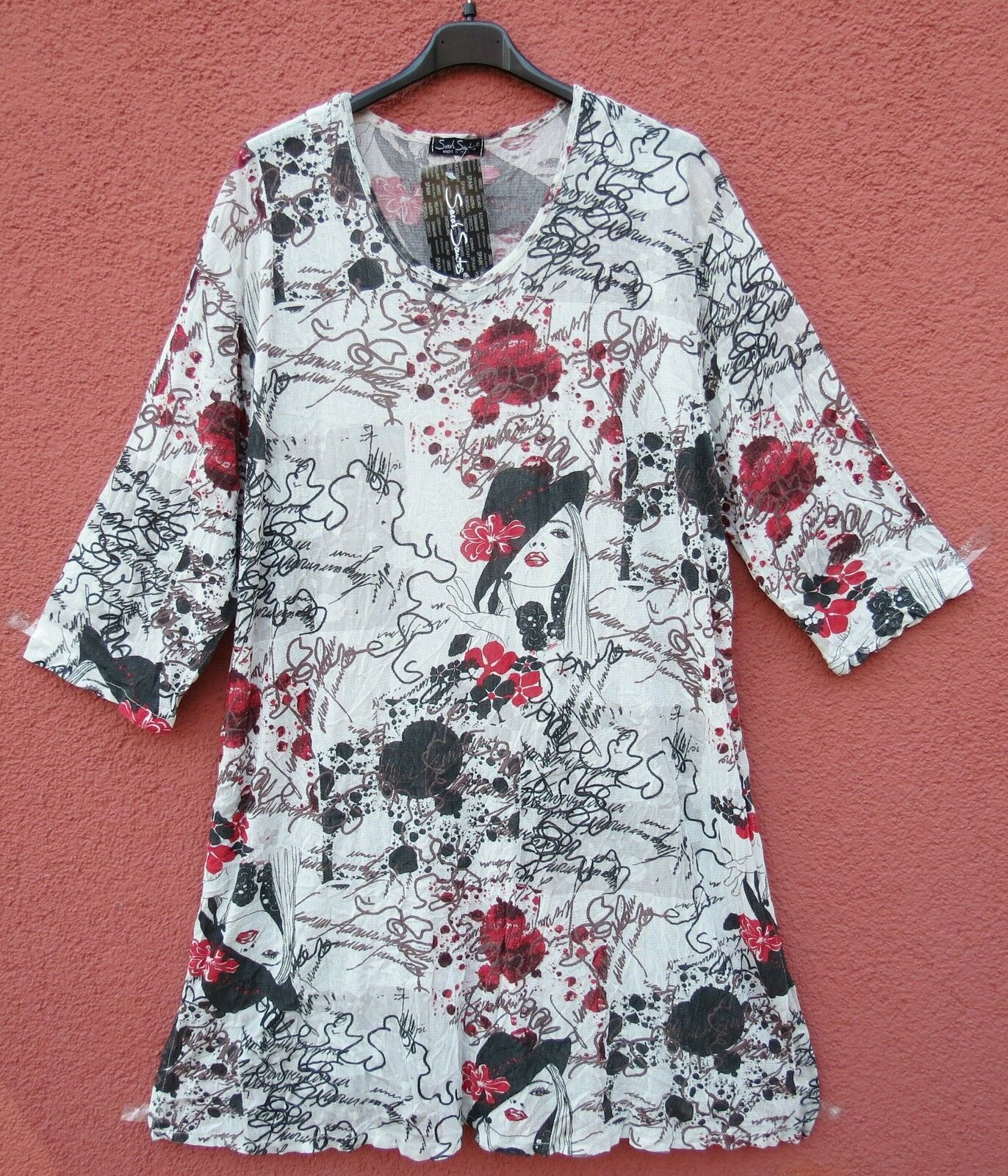 NEU SARAH SANTOS Tunika Shirt Tunic Tunique Tunica XXL 52 54 Lagenlook